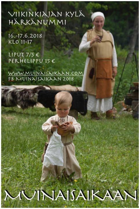 Juliste Muinaisaikaan 2018 tapahtumasta, joka järjestetään 16. ja 17. kesäkuuta Härkänummen viikinkiajan kylässä Eurassa.